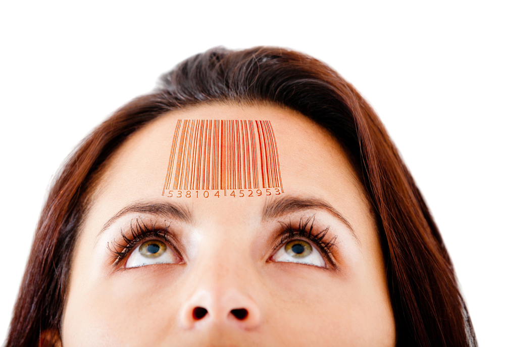 Woman with a barcode in her forehead selling knowledge - isolated over white-1